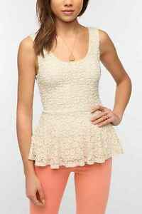 Urban Outfitters Pins and Needles Daisy Lace Peplum Tank Top