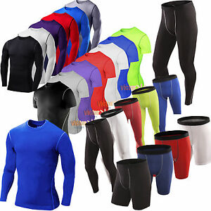 Men Under Base Layer Tight Armour Skins Fitness Shorts Running Jogger Pants Tops