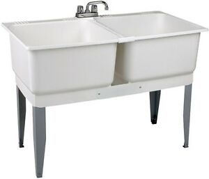 Laundry Tub Double Basin Utility Sink Freestanding 46 in. x 34 in. White Plastic