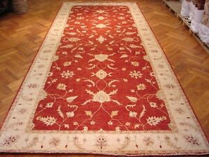 8 x 20 Red Durable Carpet Chobi Peshawar Hand-Knotted Area Rug 254 x 594 cm