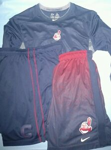 (2) Nike Dri-fit Cleveland Indians shorts & pro combat team issued LOT RARE