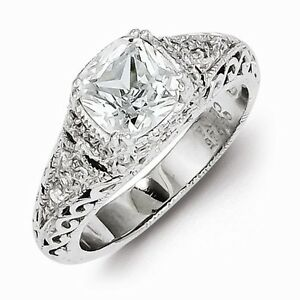 VINTAGE ANTIQUE STYLE STERLING SILVER FILIGREE CZ RING SIZE 8