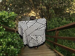 Round Beach Towel Luxury Turkish Cotton Terry Towelling Large Black Geometric