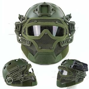 Airsoft Tactical Combat Fast Helmet with Protective Mask Googles G4 System Green