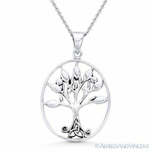 Antique-Finish Tree-of-Life Trinity Charm 925 Sterling Silver Pendant
