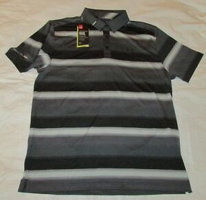 New Mens UNDER ARMOUR 2XL BlackGray Striped Cold Black Golf Polo Loose Fit NWT