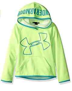 NWT UNDER ARMOUR YOUTH LITTLE KIDS GIRL GREEN JUMBO LOGO SWEATSHIRT HOODIE SZ 4