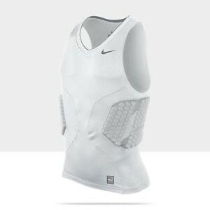 Mens XL NIKE Pro Combat Vis Deflex 2.0 Padded Basketball White Compression Shirt