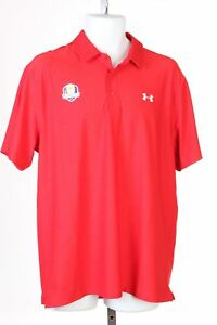 Under Armour Ryder Cup 2016 Team USA Polo Golf Shirt Mens Large Red B31