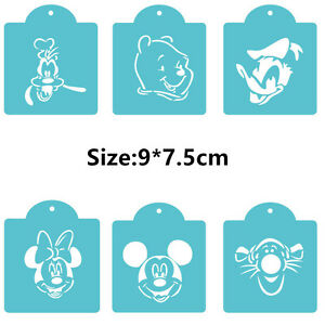 6 Pcs Packed Cartoon FIG Cookie Cake Stencil Decorate Mould Fondant Biscuit Tool