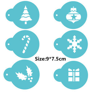 6 Pcs Packed Christmas G Cookie Cake Stencil Decorate Mould Fondant Biscuit Tool