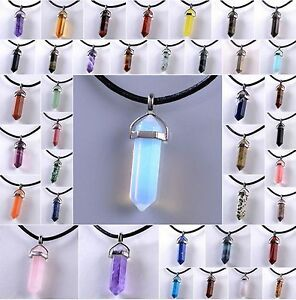 Natural Crystal Necklace Gemstone Rock Quartz Healing Point Chakra Stone Pendant
