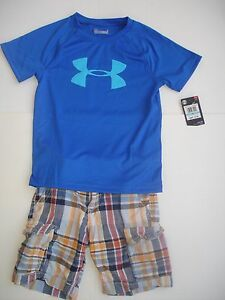 Boy 5 Outfit - NWT Under Armour Tee and Old Navy Plaid Shorts