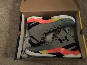 Mens Under Armour Curry 2 Grey Orange And Black And Size 9