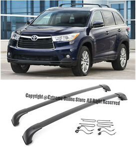 For 14-16 Toyota Highlander XLE Black Roof Rack Cross Bar Top Luggage Carrier