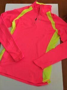 Brooks Women's Running Long Sleeve Top Shirt Thumbholes Pullover 14 Zip Size M
