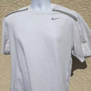 Mens Medium White Nike Dry Fit Athletic Shirt Clean Cond Shoulder Dif Fabric