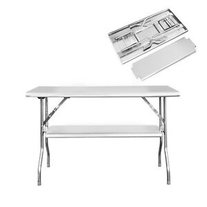 Royal Gourmet Folding Table Double-shelf Stainless Steel Muti-function PW2448D