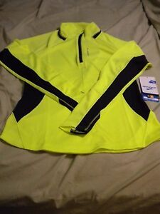 Women's Brooks Nightlife- Bright Yellow- 14 zip running shirt- NWT- Size Large