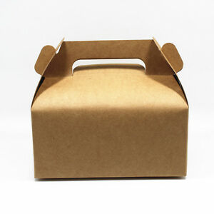 Kraft Paper Boxes Party Wedding Favour Box Biscuits Muffin Cake Gift Handle Pack
