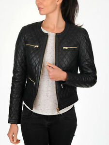 New Women's Black Quilted Slim Fit Biker Style Moto Real Leather Jacket