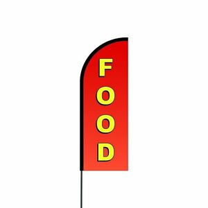 Food Feather Flags Banners with Pole Kit Stand, Outdoor Advertising Signs