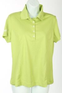 Nike Polo Golf Shirt Lime Green Dri Fit Womens Sz Medium M Dialog B36