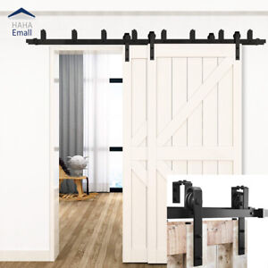 5-16FT New Bypass Sliding Barn Door Hardware Double Track Kit Easy Install Black