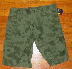 Boy's Under Armour Cargo Camo Green shorts loose Ua Golf Youth Large YLG