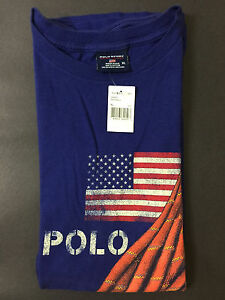 NEW OLD STOCK VINTAGE RALPH LAUREN POLO SPORT FLAG ROPE TSHIRT BLUE XL YACHT XXL