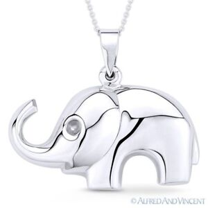 Elephant Animal Charm Pendant & Cable Link Chain Necklace in 925 Sterling Silver