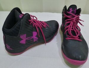 UNDER ARMOUR WOMEN'S SUPPORTIVE BASKETBALL SHOES HIGH TOPS SIZE 10 PINK BLACK