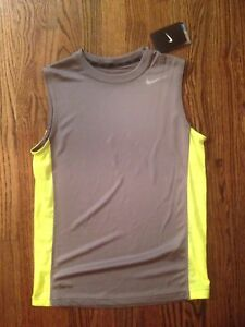 New NWT Nike Gray W Yellow Sleeveless Dry-Fit Shirt Youth Boys Size Large 1416