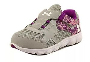 Under Armour Baby Girl Sneakers Size 4 4K Pink Grey Breathable Flexible Shoes