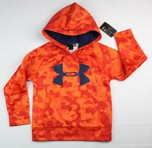 Under Armour Toddler Boys Orange Camo Pull-Over Logo Hoodie Size 4