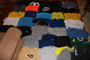 HUGE LOT 33 ADULT MENS ATHLETIC SHIRTS GYM TEES NIKE REEBOK FILA ADIDAS MEDIUM