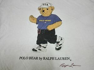 VTG 90s POLO BEAR RALPH LAUREN T SHIRT SPORT ATHLETIC PRL JOGGING WITH WALKMAN