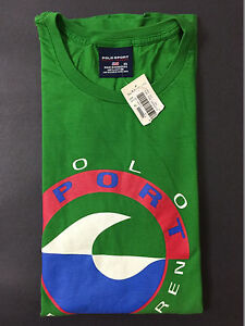 NEW OLD STOCK VINTAGE RALPH LAUREN POLO SPORT PEPSI WAVE TSHIRT GREEN XL M L XXL