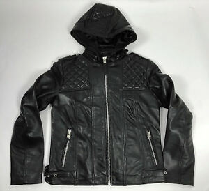 Womens Leather Biker Motorcycle Hoodie Jacket Black