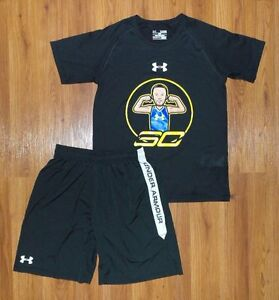 Lot 2 Boy's UNDER ARMOUR Steph Curry Warriors Shirt Shorts Set Youth Large Loose