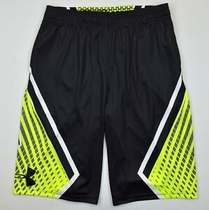 Under Armour 1527 Athletic Boys Undeniable Basketball Shorts Sports Black Yellow
