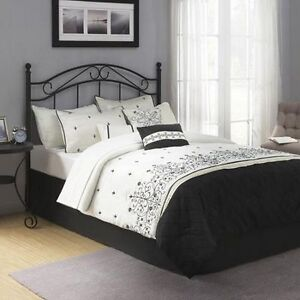 Traditional Metal Black Headboard Full Queen Size Bed Bedroom Frame