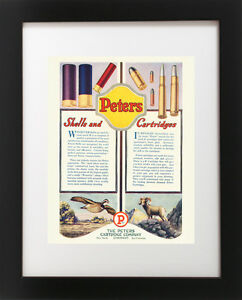 VTG PETERS Hunting Shotgun Shell Rifle Gun Bullet Quail SHEEP Lodge Art Print