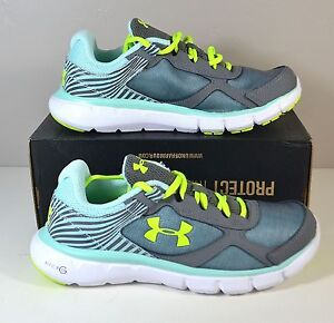 NWT GIRLS YTH UNDER ARMOUR UA GGS MICRO G VELOCITY RN RUNNING SHOES SZ 2Y-7Y