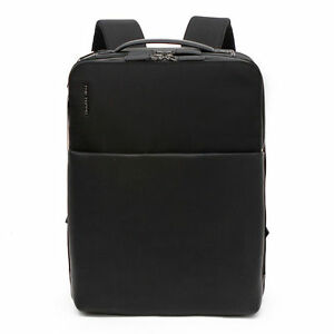 Men's Black Faux Leather Urban Casual Style Laptop Sleeve School Office Backpack