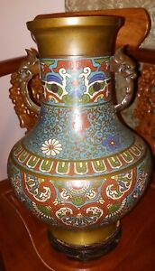Antique Large Cloisonne Champleve Bronze Vase ~ 13'' Tall  ~