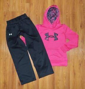 Girl's UNDER ARMOUR Coldgear Pullover Fleece Hoodie Pants Set YMD Medium Loose