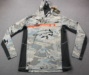 UNDER ARMOUR UA NInja Boys Gray Ridge Reaper Camo Hydro Hoody NWT XL $65