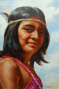 Painting of Native American Woman - Artist Gregory Poole 1972 OOB 12 x 16