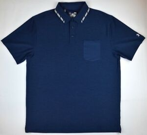 Under Armour 1441 Athletic Gym Mens Tipped Pocket Polo Shirt Sports Navy Blue
